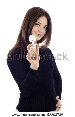 Portrait of a happy young saleswoman holding an energy efficiency light bulb isolated on white - stock photo