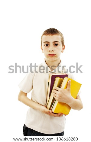Portrait of a schoolboy with books on white background. - stock photo