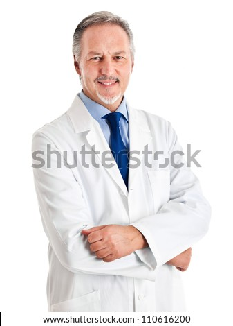 Portrait of a senior doctor isolated on white background - stock photo