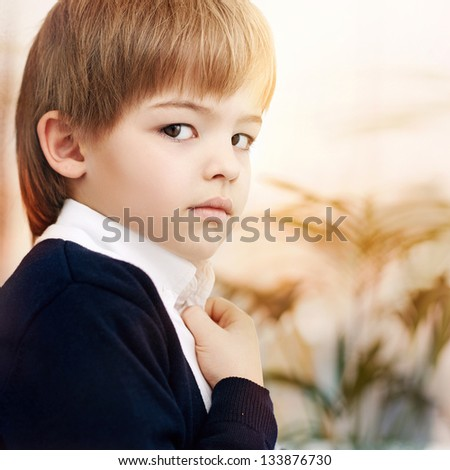 Portrait of a serezdnyh arrogant small boy indoors - stock photo