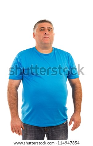 Portrait of a serious  man in t-shirt isolated on white background - stock photo