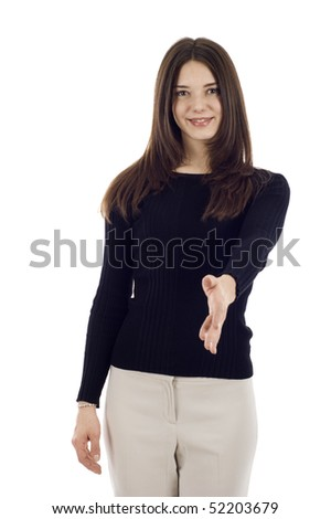 Portrait of a woman with an open left hand ready to seal a deal, Left handed Handshake