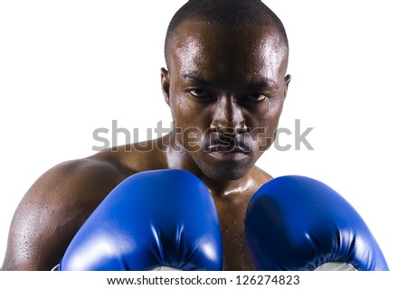 Portrait of African American boxer