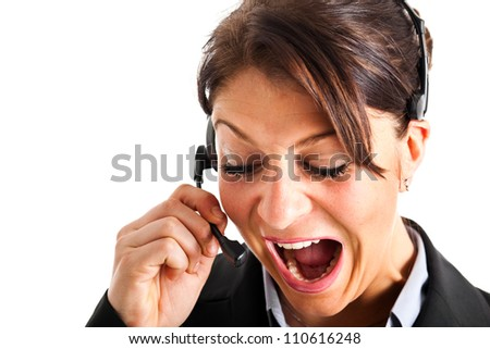 Portrait of an angry customer representative at work - stock photo
