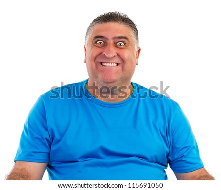 Portrait of an expressive man, isolated white background - stock photo