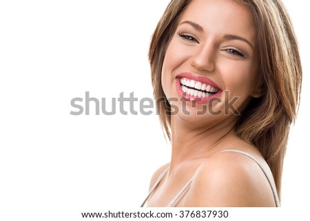 portrait of attractive happy woman blond isolated on white studio shot toothy smile face long hair head and shoulders - stock photo