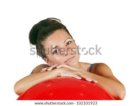 portrait of beautiful girl with a red ball