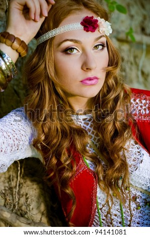 portrait of beautiful young girl hippie - stock photo