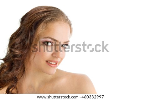 Portrait of Beautiful Young Woman Naked with Long Brown Hair on the White Background. Waist Up.