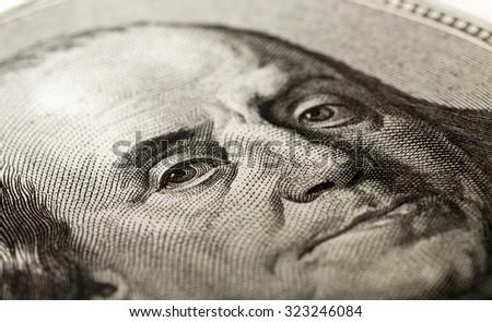 portrait of Benjamin Franklin on the hundred dollar bill. Close-up. - stock photo