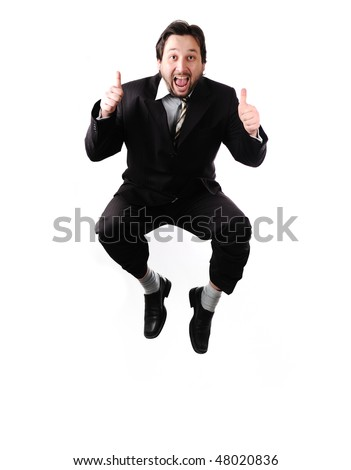 portrait of businessman jumping