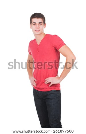 Portrait Of confident Man On White Backgroun - stock photo