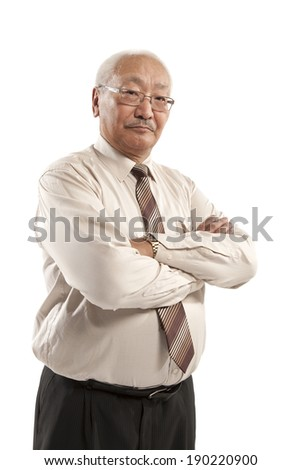 portrait of mature man with crossed arms isolated on white background