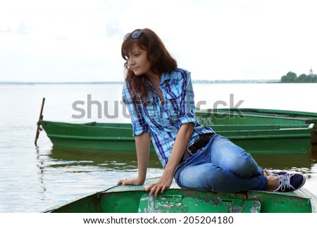 Portrait of the beautiful girl travelling in Rostov  - stock photo