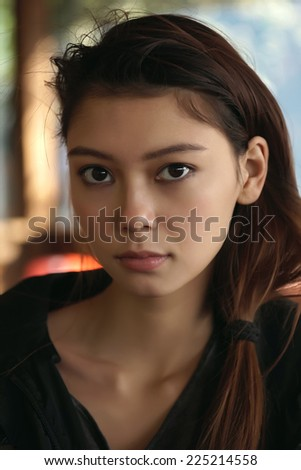 portrait of the beautiful young girl - stock photo