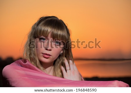 Portrait of the girl in the evening - stock photo