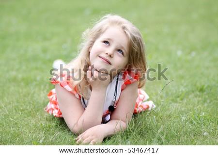 Portrait of the little girl - stock photo
