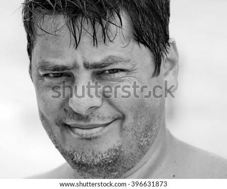 Portrait of young man. Black and white