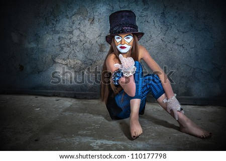 Portrait scary monster clown - stock photo