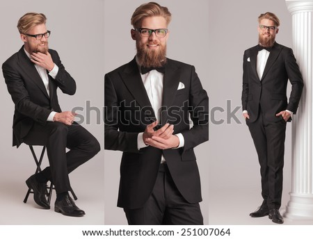 3 poses of an elegant man with long beard in tuxedo suit and bow tie - stock photo