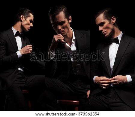 3 poses of seated confident businessman in black tuxedo looking away in dark studio background. in one he is closing his jacket - stock photo
