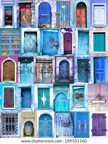 poster from old moroccan doorways with blue colors  - stock photo