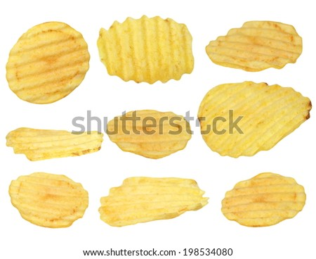 potato chips isolated on white background, with clipping path, (high resolution) - stock photo
