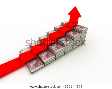 50 pound sterling bank notes closeup view business background - stock photo