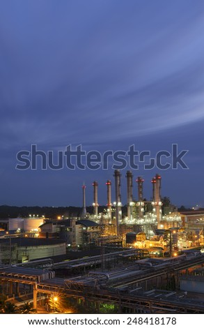 Power plants oil with blue sky twilight. - stock photo