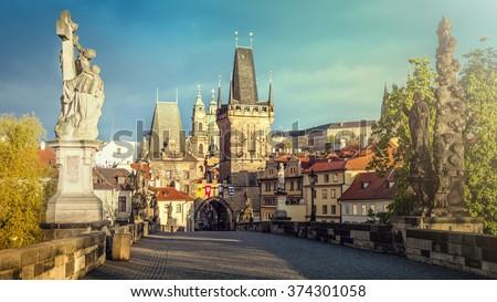 Prague, Charles Bridge in the morning; Czech Republic - stock photo