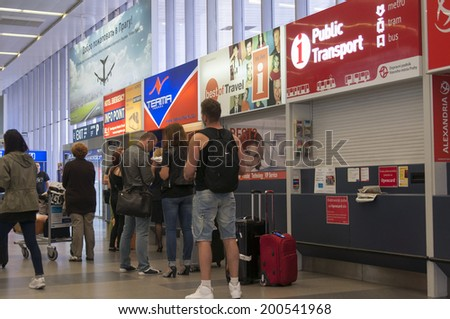 PRAGUE, CZECH REPUBLIC - JUNE 5, 2014: People in the Vaclav Havel Airport in Prague on June 5, 2014, Czech Republic