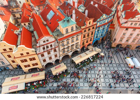 Prague, Czech Republic - October 3, 2014: Aerial view over Old Town square. Prague - one of the most beautiful cities in Europe, a popular tourist center. - stock photo