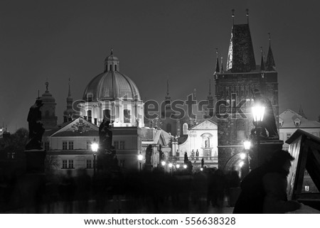 Prague towers in black and white