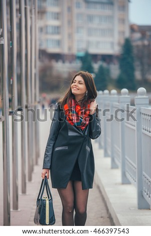pretty girl walking in the city