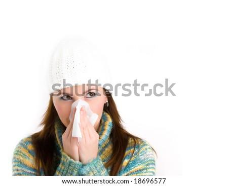 pretty girl with flu - stock photo