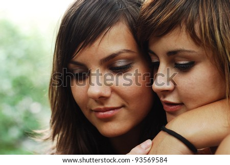 pretty young women - stock photo