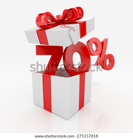 70% price off with gift box. sale concept. 3d illustration
