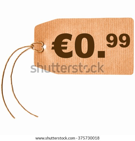 Price tag with string isolated over white, 0.99 euro cent vintage