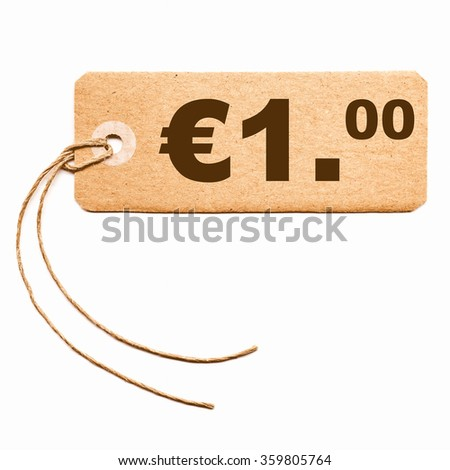 Price tag with string isolated over white - 1 Euro vintage