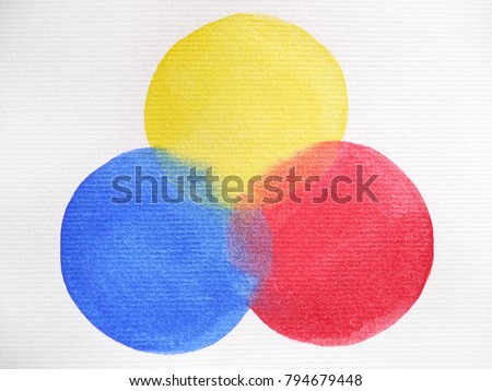 3 Primary Colors Blue Red Yellow Watercolor Painting Circle Round On White Paper Texture Background