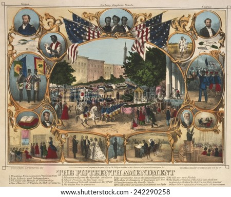 1870 print illustrating the rights granted by the 15th amendment. The Fifteenth Amendment celebrated by parade, by portraits, and vignettes of Black life. - stock photo