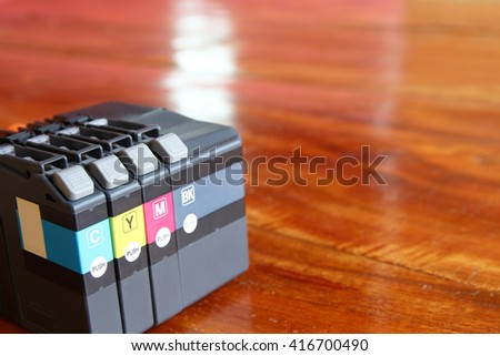printer ink cartridges for a color printer - stock photo