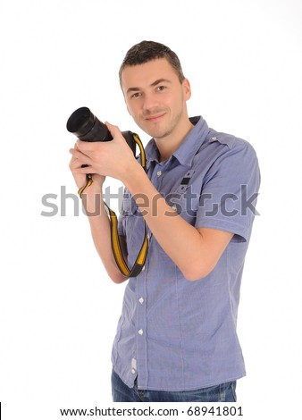 professional male photographer taking picture . isolated on white background - stock photo