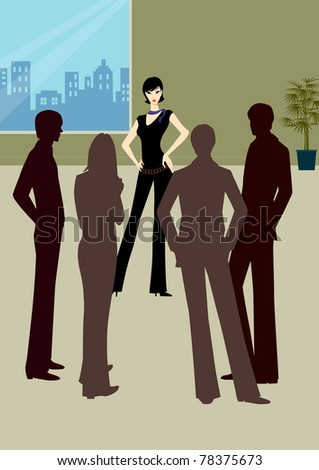Professional young business woman or lady standing near office building with people or colleagues standing surround - stock photo
