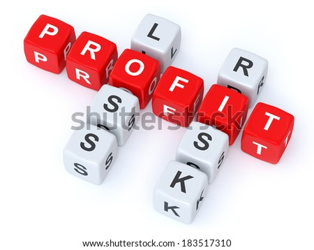 Profit loss Risk crosswords - stock photo
