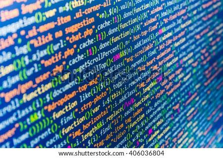 Programmer occupation. Abstract screen of software. Computer script.  Website development. Computer program.  Web site codes on computer monitor.  Website codes on computer monitor.   - stock photo