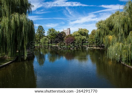 Public Gardens in Boston - stock photo