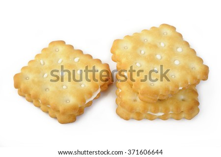 puff sandwich lemon flavoured cream on white background - stock photo