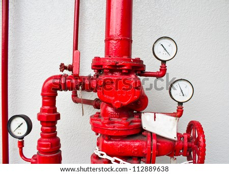 pumping and valve controls on a pumper firetruck. - stock photo