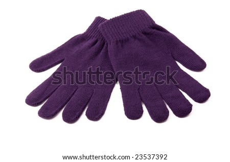 purple knitted gloves on a white background - stock photo